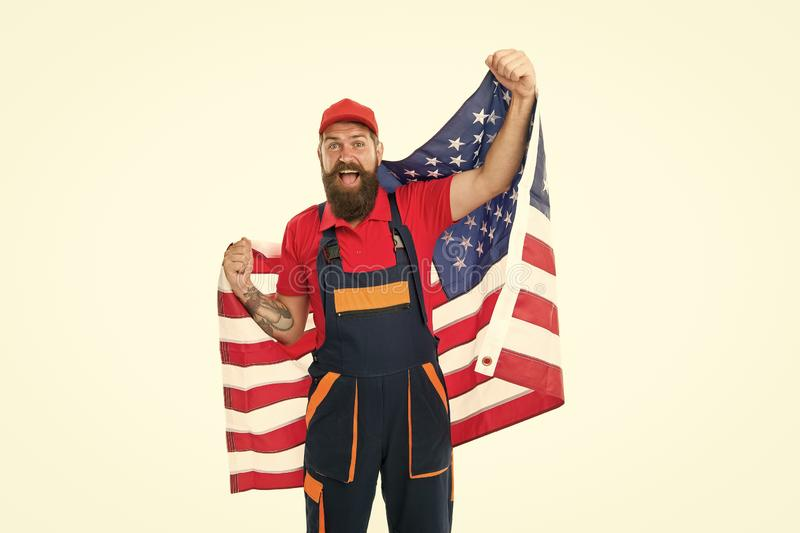 Country of opportunities. National holiday. Worker celebrate independence day. Work visa USA. Man hold american flag royalty free stock images