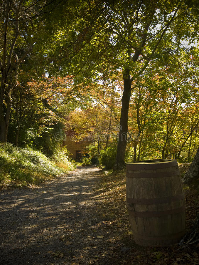 Country Path. A winding country path leading to an old barn. Autumn colors and the sun shining though the leaves makes for a very scenic photo royalty free stock image