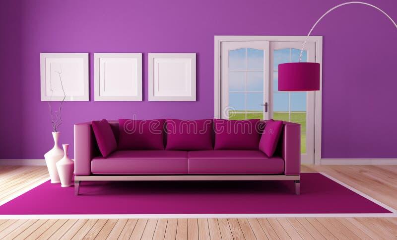 Country Purple Living Room Stock Photo