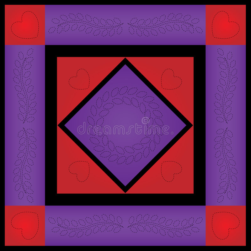 Country Quilt. Illustration quilt series--purple and red amish quilt vector illustration
