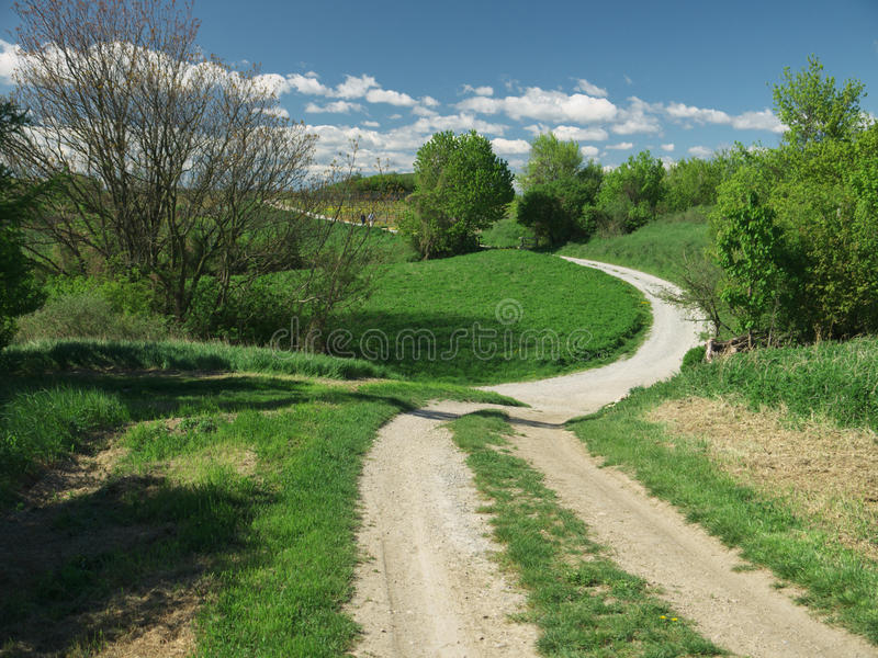 Country road. A country road in the vinyards of Guntramsdorf, Lower Austria stock photos
