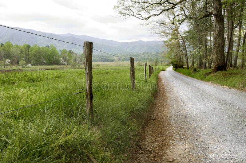 Country Road. In Cades Cove, Great Smoky Mountains National Park royalty free stock photos