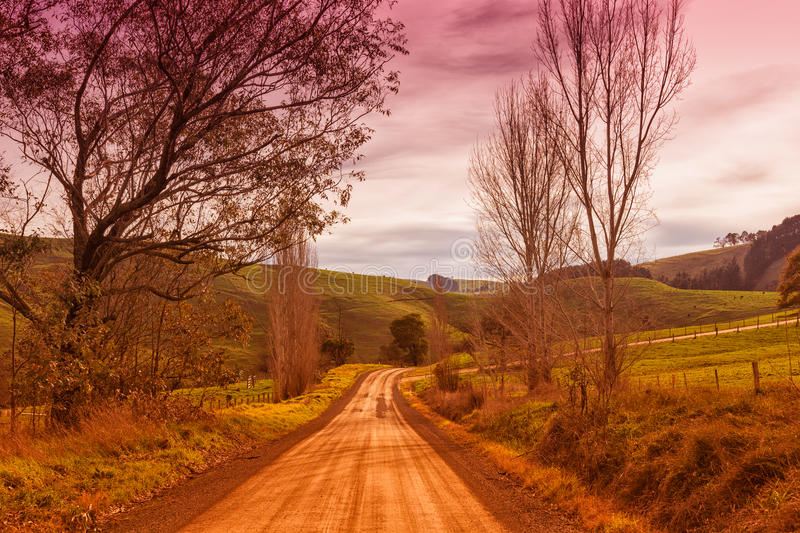 Country road in Australia. Country dirt road and farmland in the outer Leongatha district in Victoria, Australia royalty free stock photos