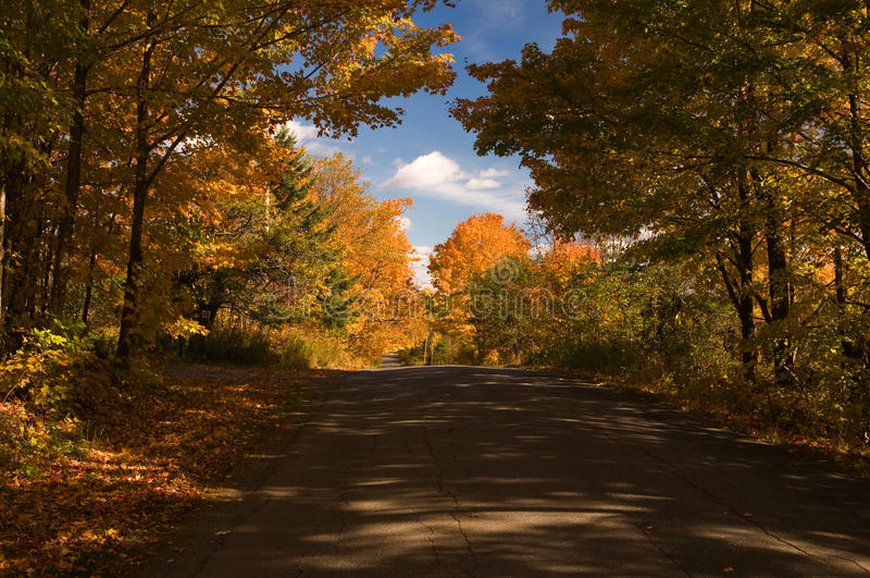 Country road in autumn. High contrast, colorful fall or autumn colors on a rural country road in New England stock photo