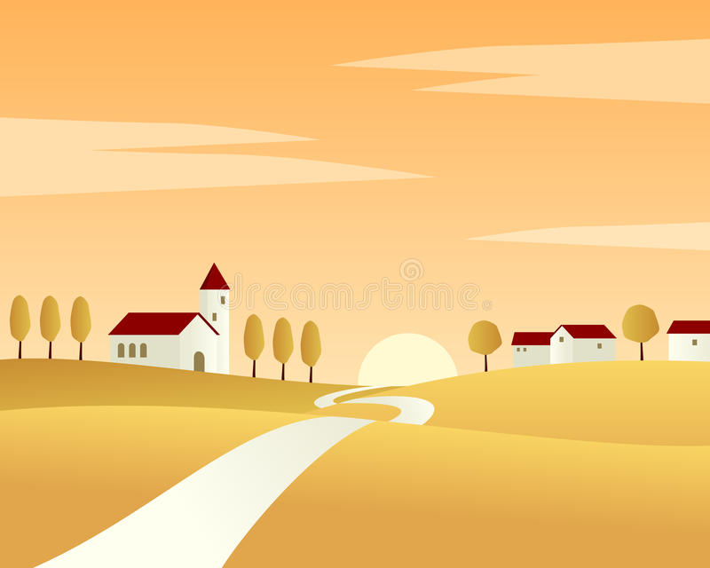 Country Road Autumn Landscape royalty free illustration