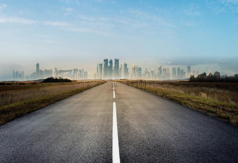 Country road for background. Country road, asphalt road panorama in countryside on city background stock images