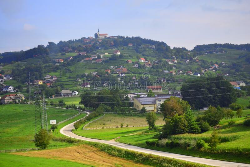 Country road in beautiful scenery Slovenia Europe stock photos