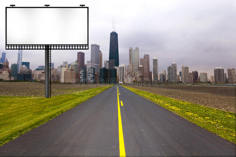 Country Road with Billboard stock image