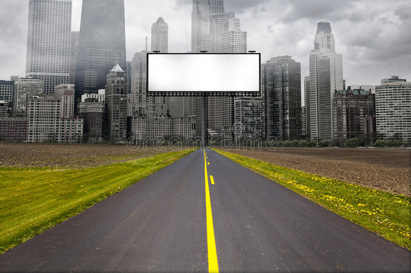 Country Road with Billboard stock illustration