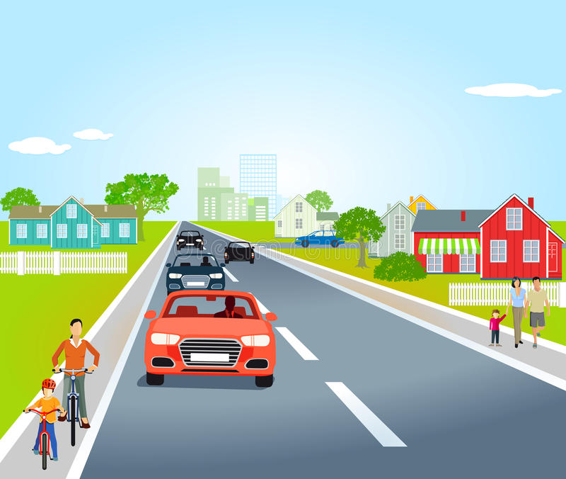 Country road with cars and bicycles. Illustration of a country road through a village showing houses, cars, bicycles and pedestrians, pale blue almost cloudless stock illustration