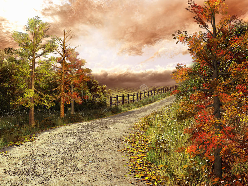 Country road in colorful forest royalty free illustration