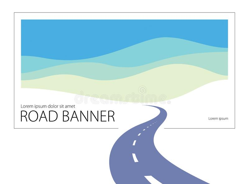 Country road curved highway vector perfect design illustration. The way to nature, hills and fields camping and travel theme. Can vector illustration