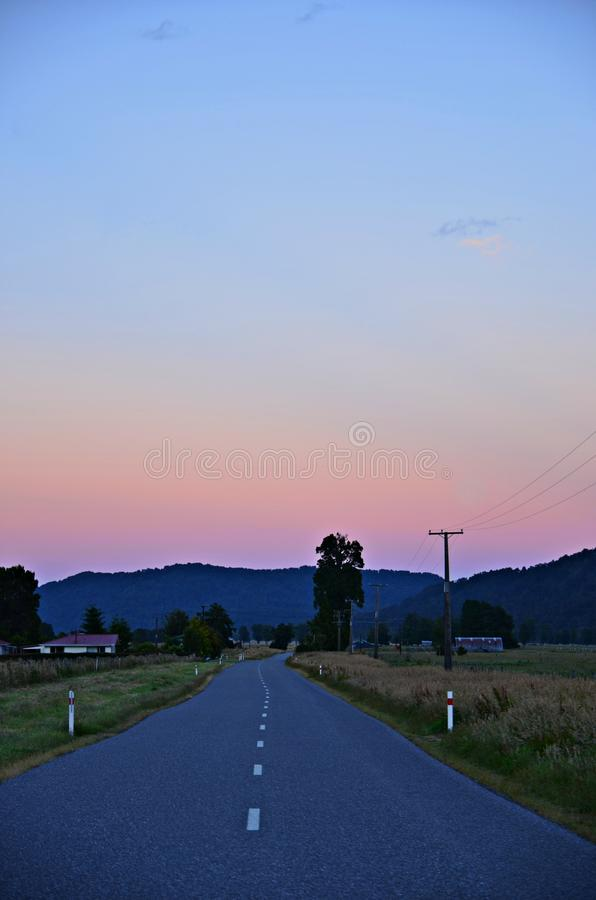 Country Road at Dawn stock photography