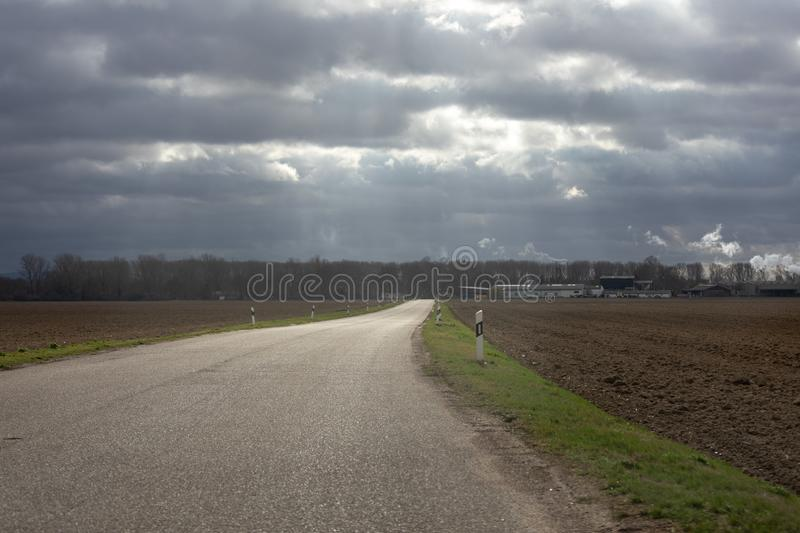 Country road through hilly german landscape in Worms royalty free stock photo