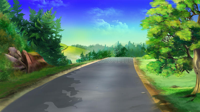 Country road. Image 01. Digital painting of the landscape country road, trees and grass stock illustration