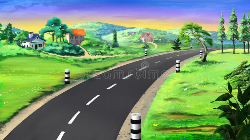 Country road. Image 02. Digital painting of the landscape country road, trees and grass vector illustration