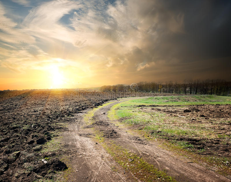 Country road and plowed land royalty free stock image