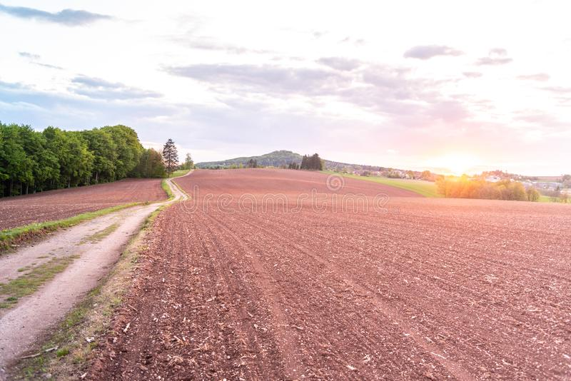 Country road in rural agricultural landscape. Red soil fields around Nova Paka, Czech Republic.  stock photo
