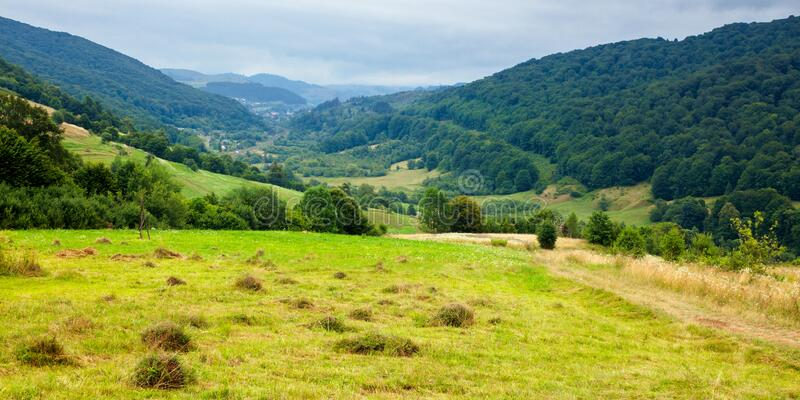 country road through rural field. suburban summer landscape in mountains stock photography