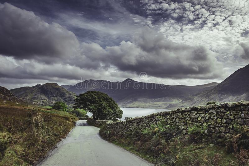 Country road with scenic views in English Lake District royalty free stock images