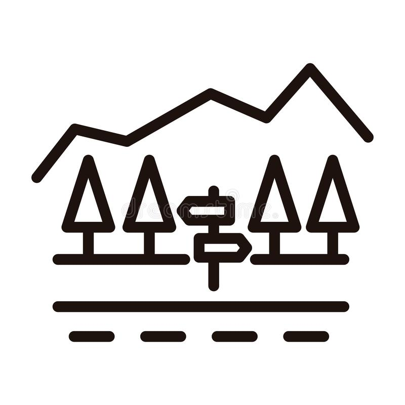 Country road with signpoast, trees and mountain minimal landscape. Vector thin line icon illustration for traveling. stock illustration