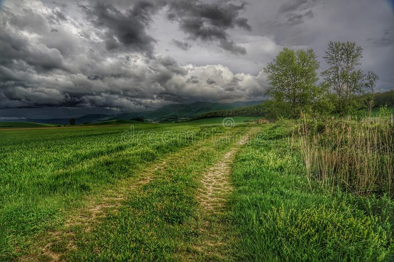 Country road on stormy day stock photo