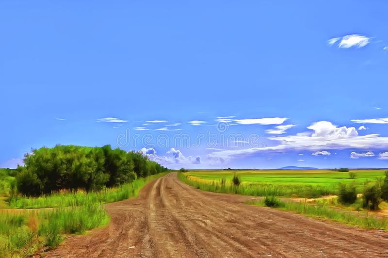 The country road stretches far across the fields royalty free stock photography