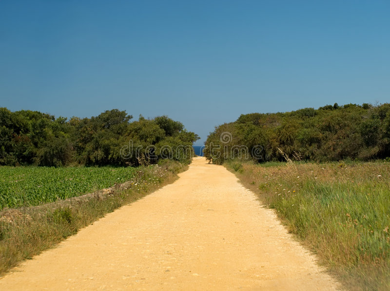 The country road to the beach