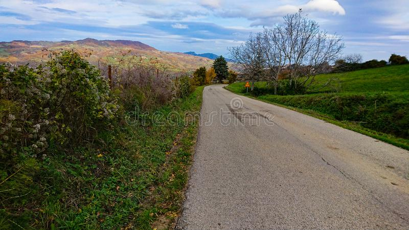 Country Road To Nowhere. Taken in Tuscany Italy stock photo