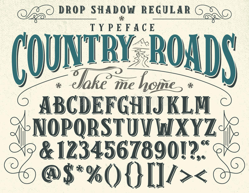 Country roads handcrafted retro typeface stock illustration