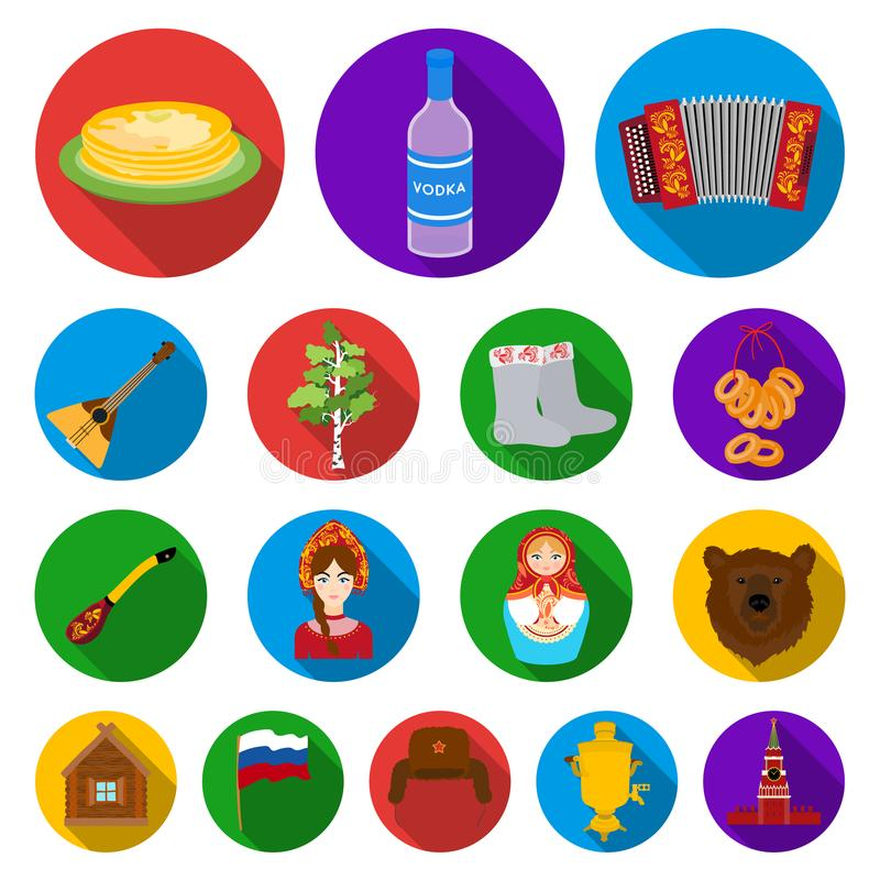 Country Russia, travel flat icons in set collection for design. Attractions and features vector symbol stock web vector illustration