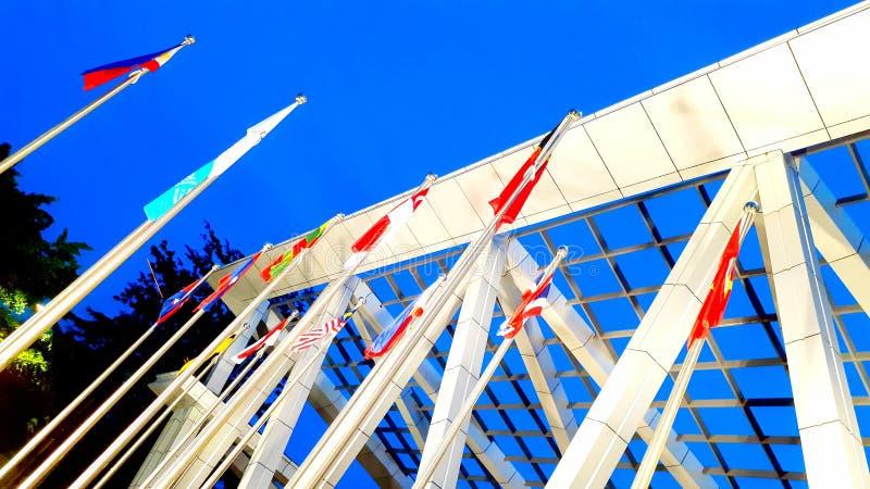 Country's vlag van de ZEE Spelen Locatie: Pasig, Filipijnen We winnen als één! stock afbeeldingen