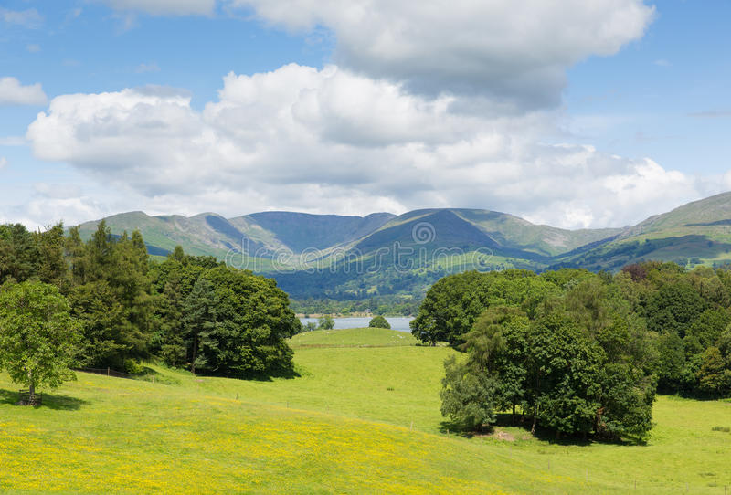 Country scene Langdale Valley and mountains from Wray Castle Lake District Cumbria uk. Country scene Langdale Valley and Fairfield Horse mountains from Wray royalty free stock images