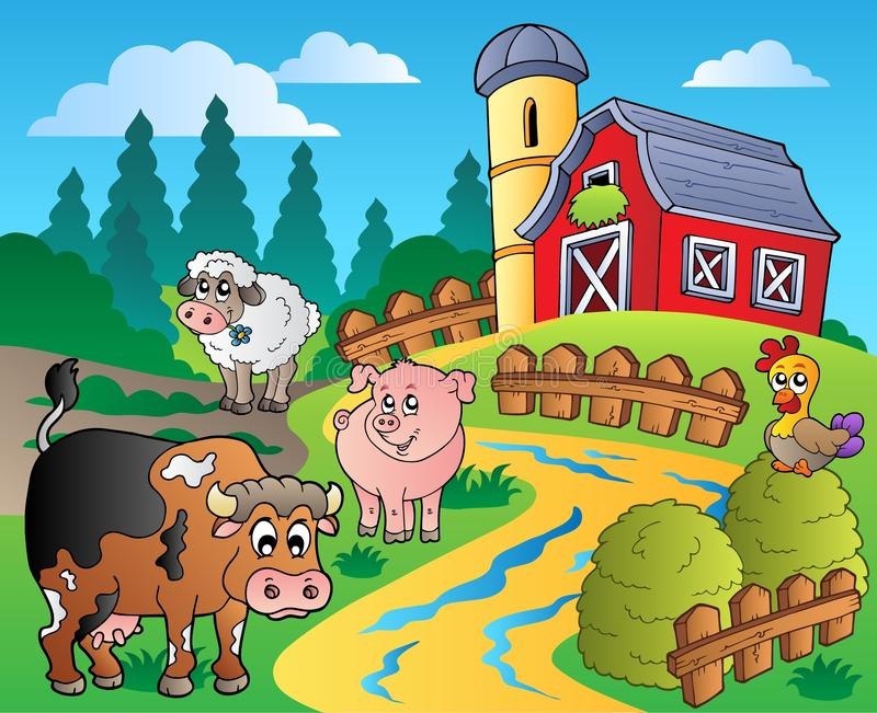 Country scene with red barn 1 royalty free illustration