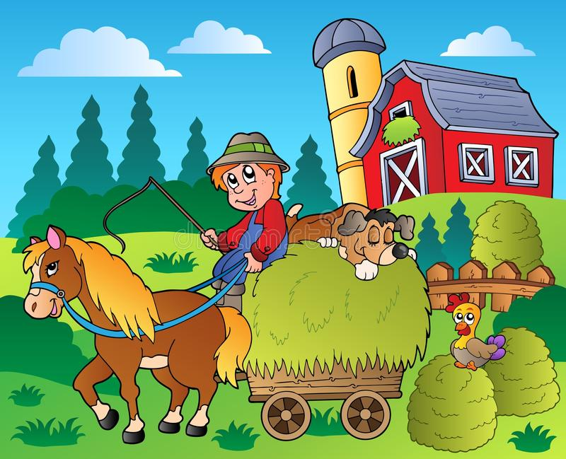 Country scene with red barn 9 royalty free illustration
