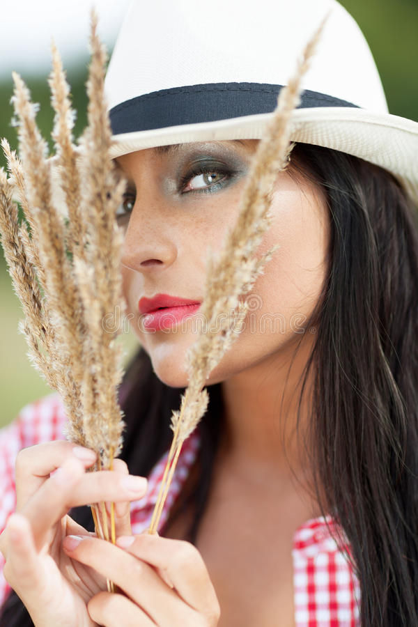 Country seduction. Country girl trying to seduce royalty free stock photography