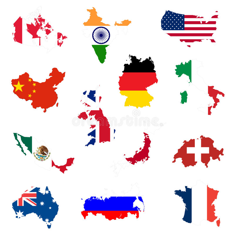 Country shaped flags stock illustration