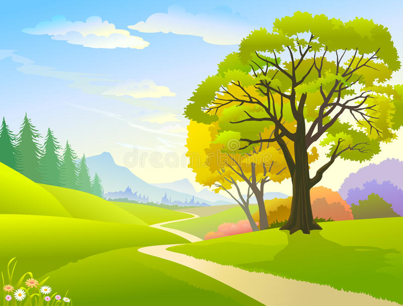 Country side Hills and Lonely Pathway. A vacationers idea of a country side Hills and Lonely Pathway royalty free illustration