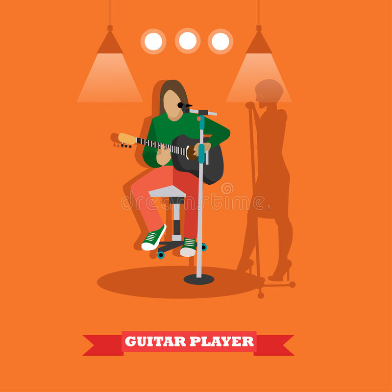 Country song guitarist playing guitar. Music rock band concept banner. Vector illustration in flat style design vector illustration