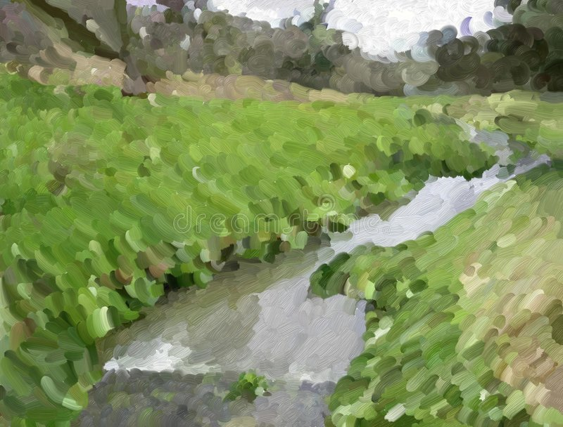 Country stream. Abstract painting of a country stream created using large brush strokes of thick paint stock illustration