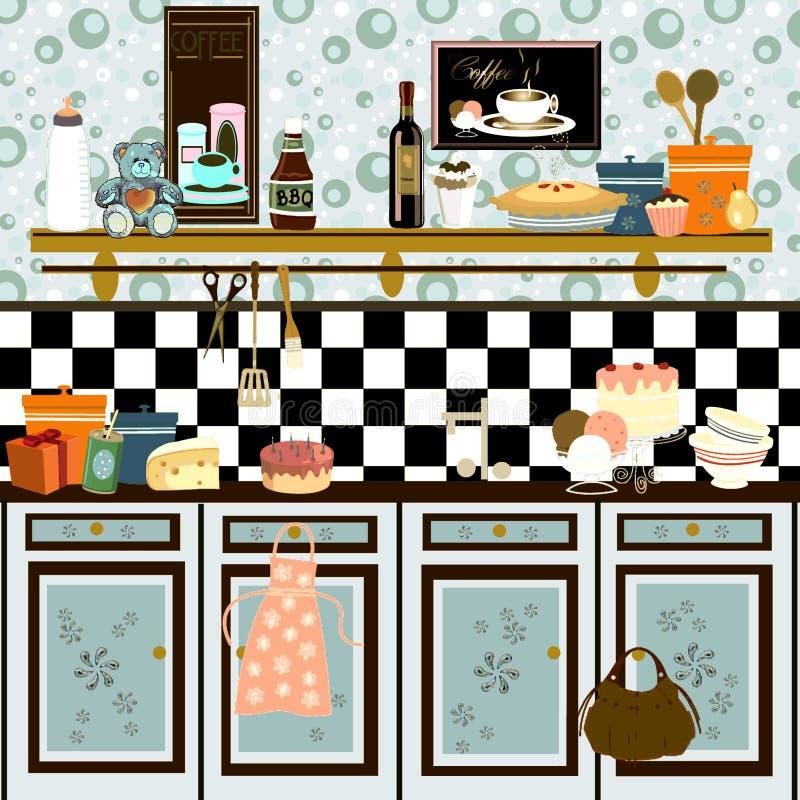 Retro Kitchen Illustration: Country Style Retro Kitchen (early Color Technique Stock Illustration