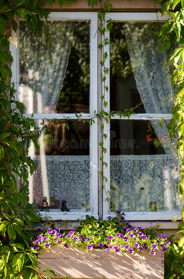 Download Country Style Window With Flowers And Curtains Stock Image - Image of outdoors, ornamental: 39512155