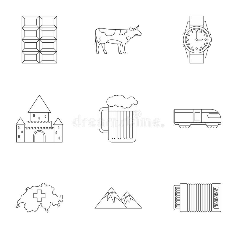 Country Switzerland icons set, outline style vector illustration