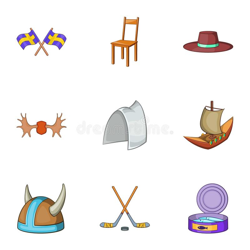 Country of Vikings icons set, cartoon style stock illustration