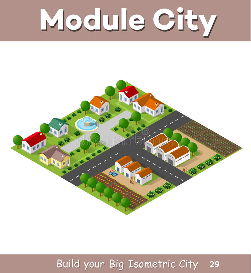 Country village of townhouses vector illustration
