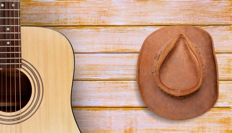 Country and western music. Guitar music backgrounds barn wood old royalty free stock photography