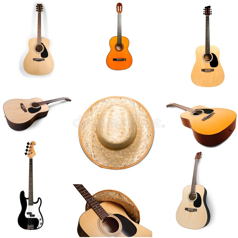 Country and Western Music. Guitar Music Backgrounds Barn Wood Old stock photography