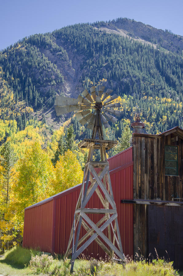 Country Windmill and Barn stock image