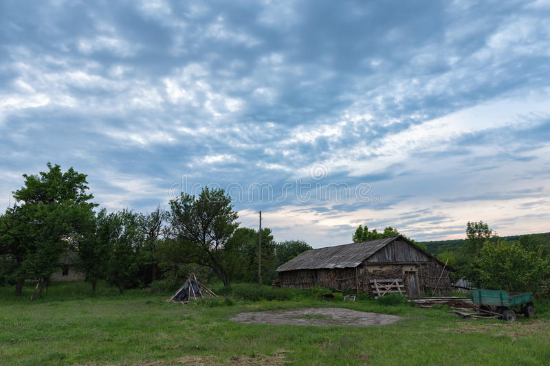 Country yard with cart. Country yard with horse cart in Ukraine stock photography