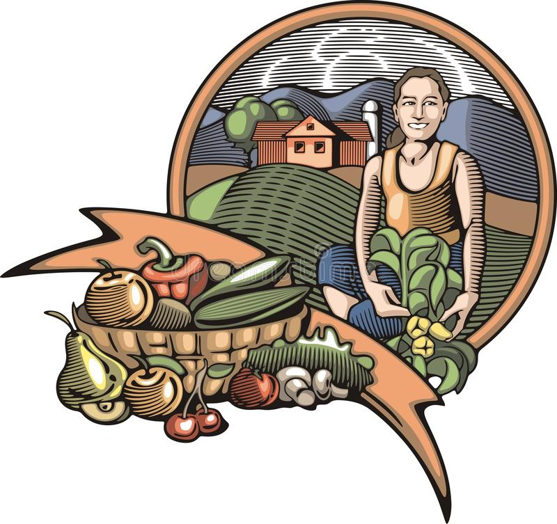 Countrylife and Farming Illustration in Woodcut Style. Illustration of a young farmer girl, happy with the good harvest. Done in retro woodcut style royalty free illustration